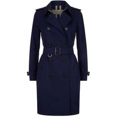 Burberry The Long Kensington Trench Coat ($1,870) ❤ liked on Polyvore featuring outerwear, coats, jackets, slim fit trench coat, long military coat, military-style coats, 1920s coat and long blue coat