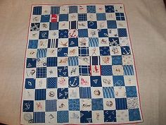 "Unique Antique 1912 Postage Stamp Quilt Block Feedsack Shirting Fabrics Crisp, 15 x 17"", eBay, peaceofmind607"