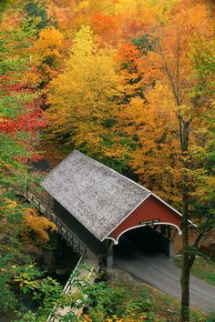 Covered bridge in New Hampshire in autumn