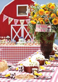 """Adorable """"Barnyard Extravaganza"""" Birthday Party! Wow these photos are amazing! Saddle up, Partner! Get ready for a real Barn Yard Birthday Party Cowboys and Cow Girls! Yee-Haw!"""
