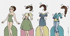 Paper dolls by Julie Allen Matthews.  A retro-inspired free paper doll to download, painted with Microsoft Fresh Paint.