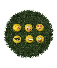 Play a round in expressive style with this golf ball set including 12 different humorous emoji faces. #golfhumor