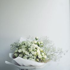 "awesome vancouver florist All white ""thank you"" bouquet || #rose #queenanneslace #gypsophila || #wildbunchflorals ||  #vancouverflorist #vancouverflorist #vancouverwedding #vancouverweddingdosanddonts"
