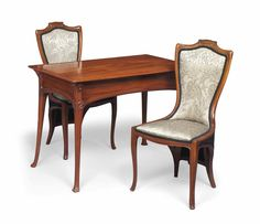 AN EDOUARD COLONNA (1862-1948) MAHOGANY WRITING TABLE AND A PAIR OF UPRIGHT CHAIRS -  CIRCA 1900