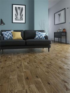 A chic, modern-looking living room design...underscored with traditional solid oak flooring