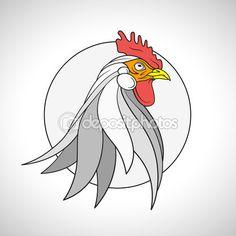 Петух петух голову портрет. Китайский Зодиак эмблема 2017. Векторные иллюстрации — стоковая иллюстрация #105931596