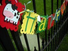 Farm/Barnyard High Chair Birthday Banner Ready to Ship by 62Cards, $12.00