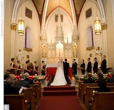 The afternoon ceremony took place in the middle of a snowstorm, with candlelight creating a warm glow inside
