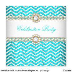 Teal Blue Gold Diamond Gem Elegant Party 5.25x5.25 Square Paper Invitation Card