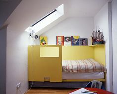 Canary yellow or any fun colour to brighten up a modern kid's room! try Advance by Benjamin Moore. -proglo-