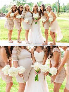 beige bridesmaid dresses Texas Shabby Chick Wedding  © www.kristencurette.com