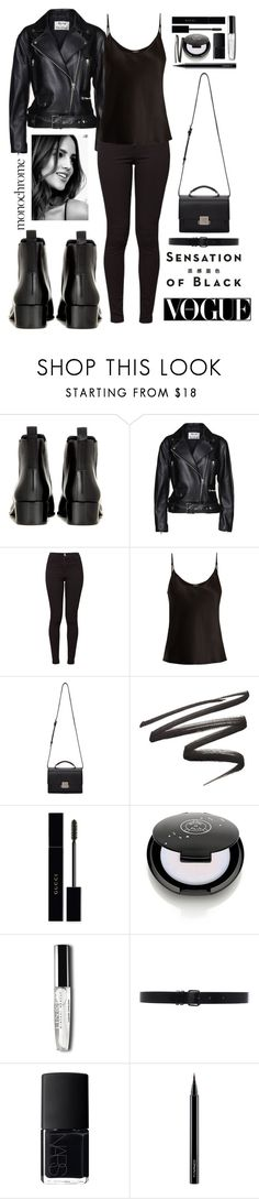 """B L A C K"" by stuart-l ❤ liked on Polyvore featuring Acne Studios, American Apparel, La Perla, Vision, Yves Saint Laurent, Gucci, Ann Demeulemeester, NARS Cosmetics, MAC Cosmetics and allblackoutfit"