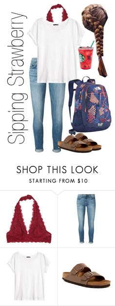 """Sipping Strawberry"" by mirandamf on Polyvore featuring Free People, Current/Elliott, H&M, Birkenstock and The North Face"