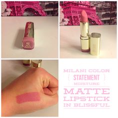 Milani Cosmetics Color Statement Moisture Matte Lipstick in Blissful. @milanicosmetics