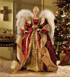 16 red and gold angel tree topper - Christmas Angels For Sale
