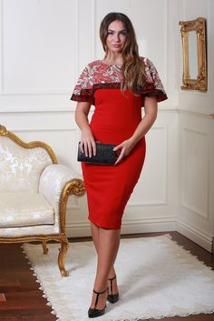 Delia Red Sequin Cape Dress with Lace Detail