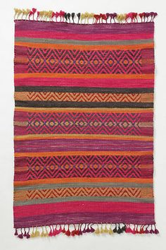 Huari Rug-- i will have a million woven rugs and such like this one day! Anthropologie Rug, Bright Color Schemes, Bright Colors, Peruvian Textiles, Magic Carpet, Home Rugs, Bohemian Rug, Boho, Woven Rug