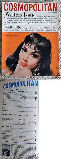 Magazines: Cosmopolitan Magazine August 1959 Gina Lollobrigida Cover BUY IT NOW ONLY: $5.0