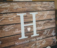Rustic Wedding Guest Book Alternative Guestbook Custom Wood Canvas