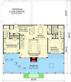 Great main floor of a beach house Charming Two Bedroom Getaway - floor plan - Main Level Dream House Plans, Small House Plans, Beach House Floor Plans, Loft Floor Plans, Master Suite, Br House, Cottage Plan, Cabins And Cottages, Suites