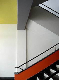 A #staircase in the #Bauhaus #school of #design, Staatliches Bauhaus, in #Dessau, Germany, 1932.