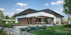 Projekt domu HomeKONCEPT-68 | HomeKONCEPT Modern Bungalow House Plans, Bungalow Haus Design, Modern Bungalow Exterior, Modern Family House, Modern House Facades, Modern House Design, Village House Design, Village Houses, Style At Home