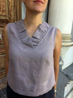 Linen loose blouse shirts for woman V neck shirt dusty lilac linen top wide linen blouse original linen summer top MaTuTu Linen Style Kurti Neck Designs, Dress Neck Designs, Blouse Designs, Sewing Shirts, Sewing Clothes, Linen Dresses, Summer Shirts, Dress Patterns, Designer Dresses