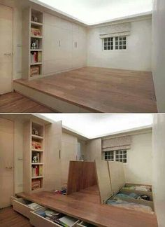 Raised floor with storage and removable center for regular seating or dining in tiny house