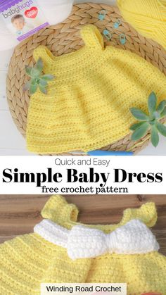 The Simply Spring crochet baby dress is an easy free crochet pattern for all the moms, grandmas, aunts and friends. This crochet dress provides a simple design and uses very few types of stitches to complete This is great for beginner crocheters. Crochet Baby Dress Free Pattern, Baby Frock Pattern, Baby Girl Crochet Blanket, Crochet Doll Dress, Baby Girl Dress Patterns, Doll Dress Patterns, Baby Clothes Patterns, Baby Doll Clothes, Crochet Baby Clothes