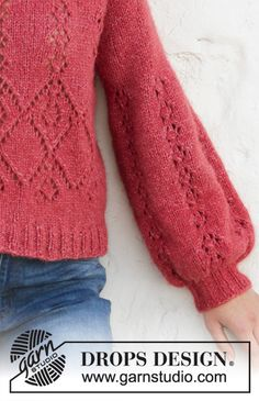Ravelry: Berry Diamond pattern by DROPS design Crochet Summer Tops, Summer Knitting, Free Knitting, Drops Design, Sweater Knitting Patterns, Knit Patterns, Crochet Hooded Scarf, Lace Sweater, Crochet Woman