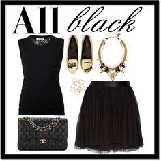 All black by crisuuu9 on Polyvore featuring Nina Ricci, Morgan, Chiara Ferragni and Chanel