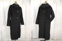 Vintage 1950s Coat / 50s Black Chenille Coat / 1950s Plus Size Coat / 60s Jackie O Style Swing Coat / Large Wool Winter Coat by RockabillyRavenVtg on Etsy