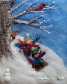 Waldorf seizoenen Winter naaldvilt wol van ClaudiaMarieFelt op Etsy