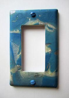 Light Switch Cover, Single Switch Plate, Rocker Switchplate, Blue with Ivory and Silver by marcympc on Etsy