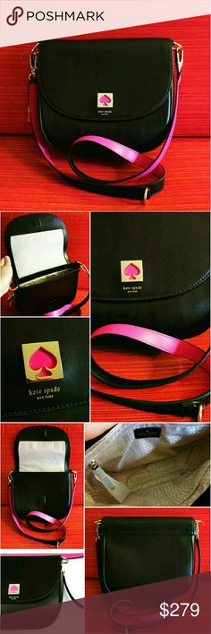 229✂Kate Spade Doreen New Bond Street Crossbody ✨Retails at $398++tax  ⏩Crafted from smooth, high quality, cowhide leather, this bag features a forever stylish black color that goes with everything, all year round ⏩Detachable strap that's so comfy on the shoulder. Contrasting pink color adds pop of freshness to this stunning bag ⏩Front flap closure magnetic snap ⏩Polished signature spade plaque with pink enamel ⏩Interior➖1 zip pocket,2 slip pocket,fully lined ⏩Spacious yet sleek, this bag is…