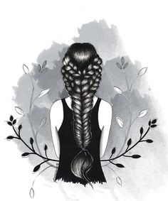 Lidiane Dutra | Ilustração #art #illustration #drawing #b&w #girl #braid #art #ink