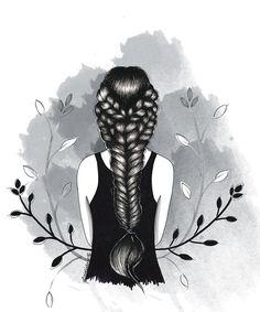 Lidiane Dutra | Ilustração #art #illustration #drawing #b&w #girl #braid #art #ink