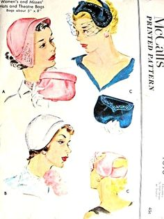 1950s Lovely Hats Fascinator and Evening Theatre Bags Pattern McCalls 1690 Three Beautiful Hat Styles Vintage Sewing Pattern