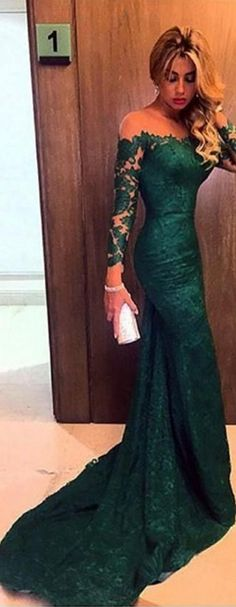 Long Sleeved Evening Dresses,Lace Evening Dresses,Sheer-Neck Evening Dress,Dark Green Evening Dresses,Mermaid Evening Dresses