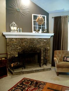 Fireplace Accent Wall Complements Painting Interior