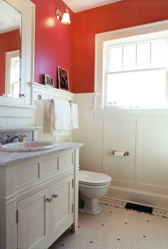 red bathroom wall paint