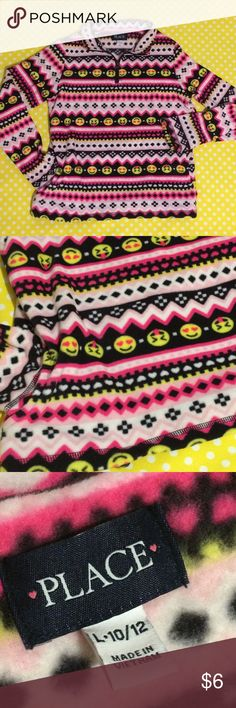 Children's place emoji smiley face sweater 10/12 Size 10/12 In great used condition  Too big for my daughter #kids #girls #emoji #smileyface #zipup #sweater #pullover #warm #cozy #pink Children's Place Shirts & Tops Sweaters