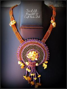 Handmade Beaded Necklace Tree of Life by CraftNicheDili - for Sale - 55.00 EUR Use special Pininterest coupon - PIN10OFF - to get 10% discount  #handmade, #bead #embroidery, #seed #beads, #original, #gift, #amber, #jewelry, #necklace