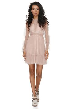 Dare to make a statement by wearing this ethereal Vero Milano sheer nude lace dress with full sleeves and sweetheart petticoat neckline at the next party you attend. Nude Dress, White Dress, Spring Fashion Outfits, Summer Outfits, Full Sleeves, Ethereal, Pretty In Pink, Stylish Outfits, Spring Style