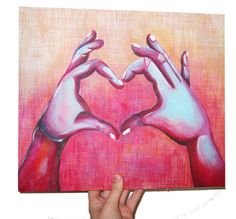 Original Acrylic Painting  Heart and Hands Art by MMArtists, $65.00