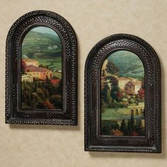 Handcrafted Italian Overlook Framed Wall Art Set features faux canvas prints with two different perspectives on the scene of a Tuscan villa and valley below. Frames On Wall, Framed Wall Art, Wall Art Decor, Tuscan Wall Decor, Tuscan Art, Framed Prints, Collage Frames, Style Toscan, Tuscany Decor