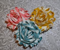 Visit the RC Facebook page for giveaway details: www.facebook.com/ryleescollection    Chevron Stripes Shabby Chic Chiffon Frayed Flower Clip by RyleesCollection, $4.00