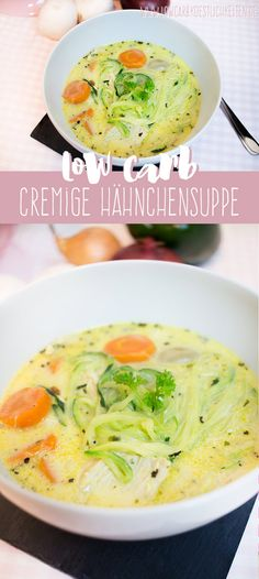 Low Carb cremige Hähnchensuppe - Low Carb Cremige Hähnchensuppe (Glutenfrei) www.lowcarbkoestl… Estás en el lugar correcto para C - Low Carb Lunch, Low Carb Keto, Low Carb Recipes, Soup Recipes, Healthy Recipes, Free Recipes, Chicken Recipes, Law Carb, Menu Dieta
