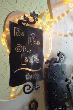 """Awesome """"Be nice or leave, thanks"""" sign made by hand by the #GardenDeva artists. Read them all at www.gardendeva.com"""