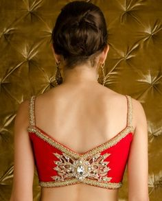 Kisneel by PAM MEHTA's Orange Red Embellished Blingy Saree with Stitched Blouse $1,710 her eStore: http://kisneelbypam.com/